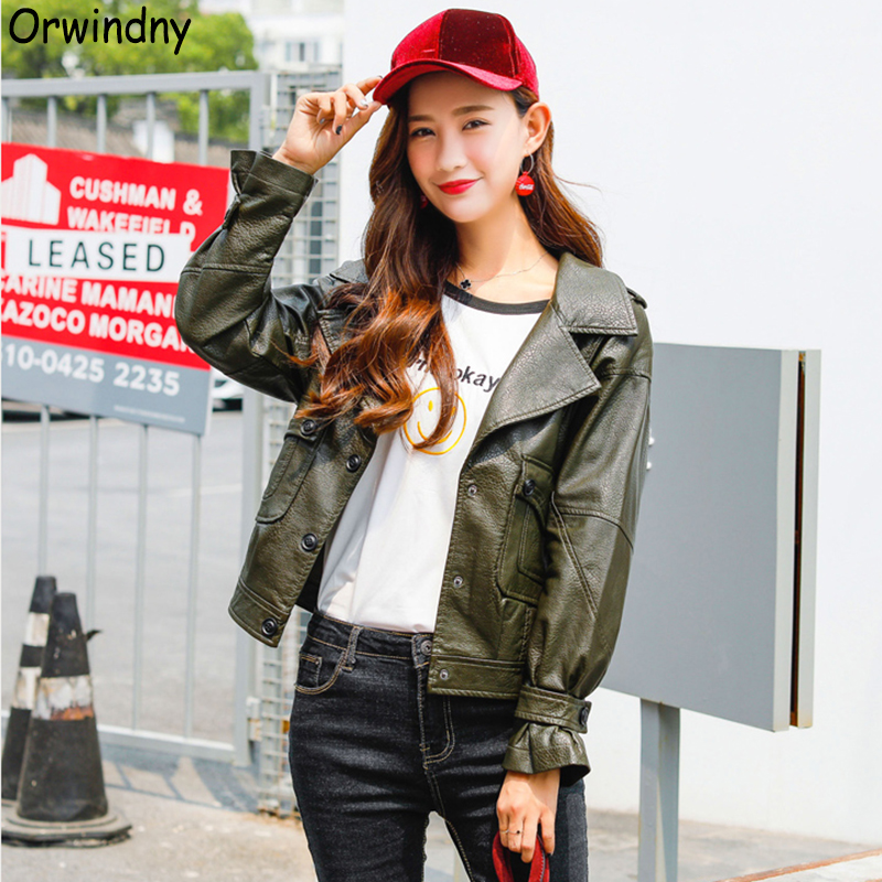 Orwindny 2019 New Casual Spring   Leather   Jacket Women Cute Army Green   Leather   Clothing Turn-down Collar Female   Leather   Coat