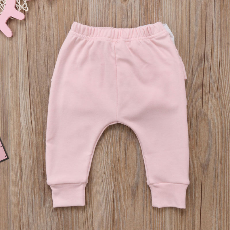 Infant Baby Girl Layered Ruffle Pants Toddler Kid Long Pants Bowknot Casual Bottoms Clothing 7