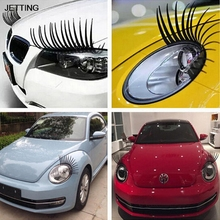 New 2pcs 3D Charming Black False Eyelashes Fake Eye Lash Sticker Car Headlight Decoration Funny Decal For Beetle Drop Shipping(China)