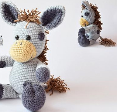 Amigurumi Crochet Dusty the Donkey doll toy rattle-in Baby Rattles ... | 369x385