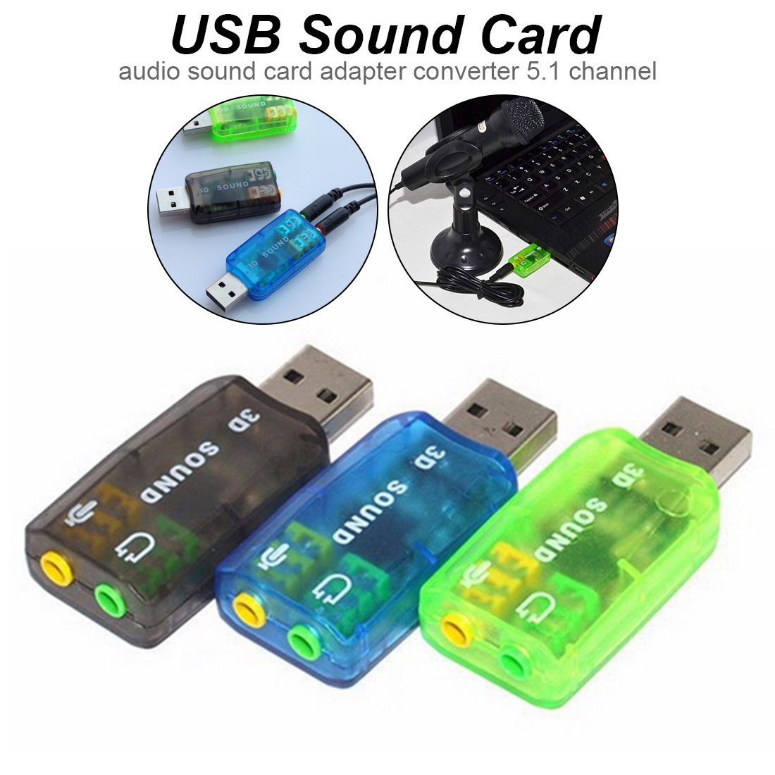 USB5.1 to 3.5mm mic headphone Jack  Headset 3D Sound Card Audio Adapte RAC