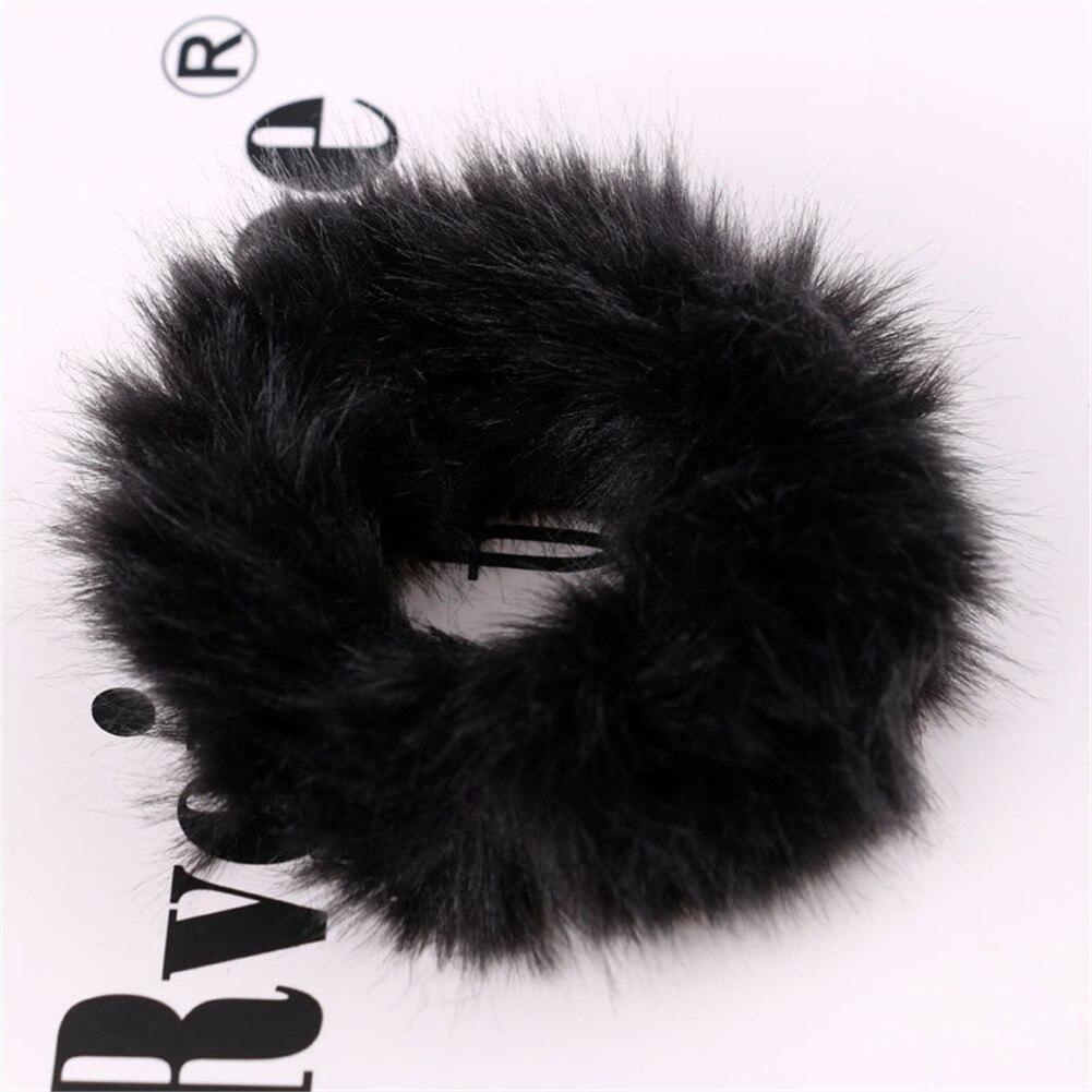 Милые эластичные резинки для волос для девочек, искусственный мех, резиновое эластичное кольцо, веревка, пушистый галстук, аксессуары для волос, меховые резинки, повязка на голову - Цвет: 2