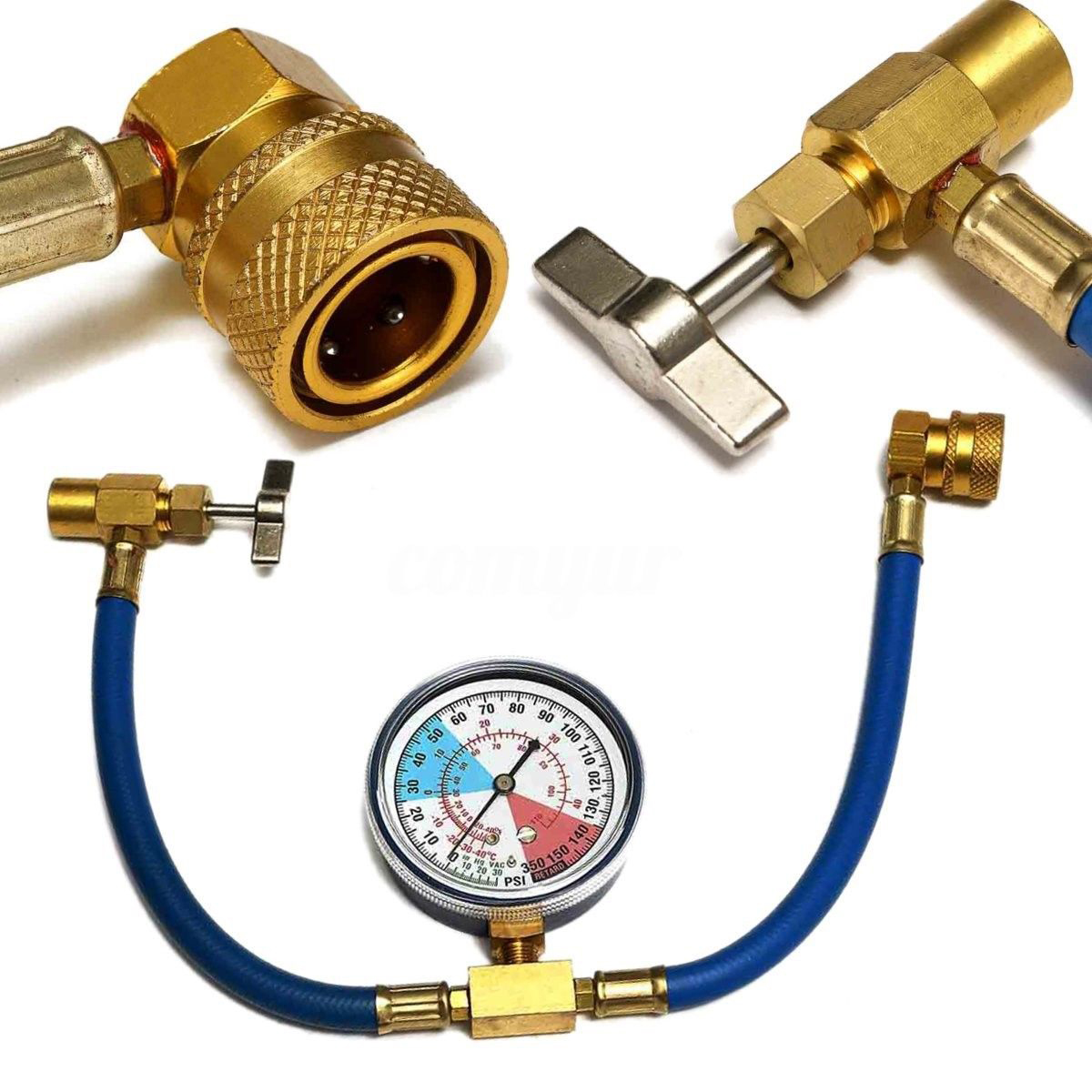 Car Air Conditioning AC R134A Refrigerant Hose Pressure Gauge Kits 600~300  PSI accessories parts high quality suitable for cars