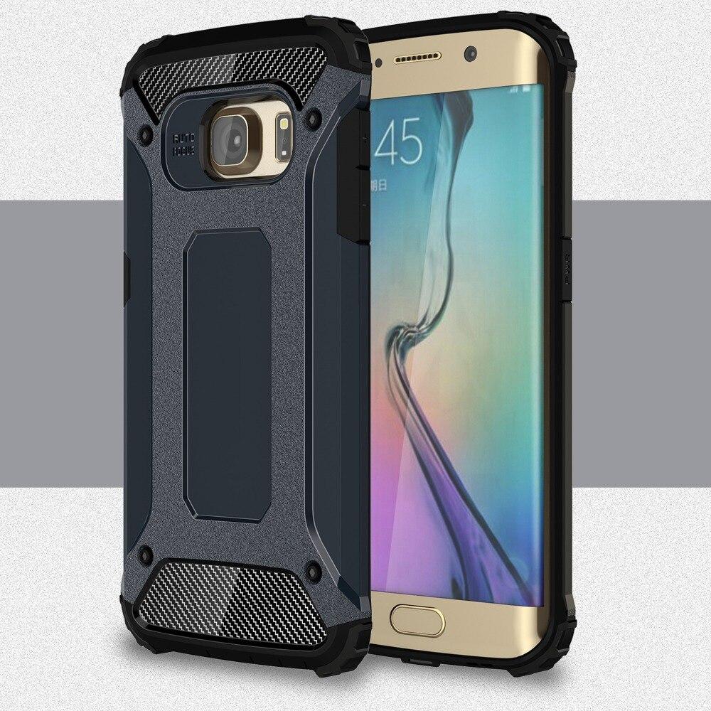 [Long Steven]For Samsung S6 Edge Case Unique Armor Anti-Knock Bumper Attached Dust Cap Cover For Samsung Galaxy S 6 Edge Case