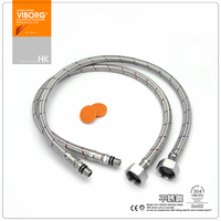 1 Pair VIBORG 50CM 304 Stainless Steel Lead Free Faucet Water Supply Hose Flexible Braided