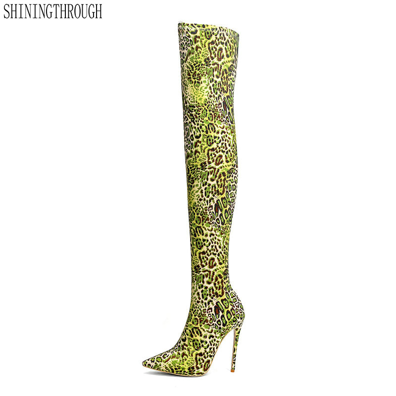 2018 spring autumn high heels 12cm fashion leopard boots for woman over the knee Stretch boots stilettos big size 43 morazora big size 34 42 high heels shoes woman over the knee boots ribbon spring autumn fashion boots stretch big size 34 42