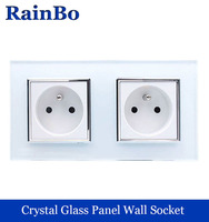 Wall Socket Andard Power Socket White Glass Panel AC Wall Power Smart Outlet Socket Adapter Black