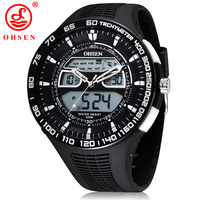 New White OHSEN Brand Analog Digital LED Military Watch Alarm Chronograph Backlight Men Sports Watches Quartz Fashion Wristwatch