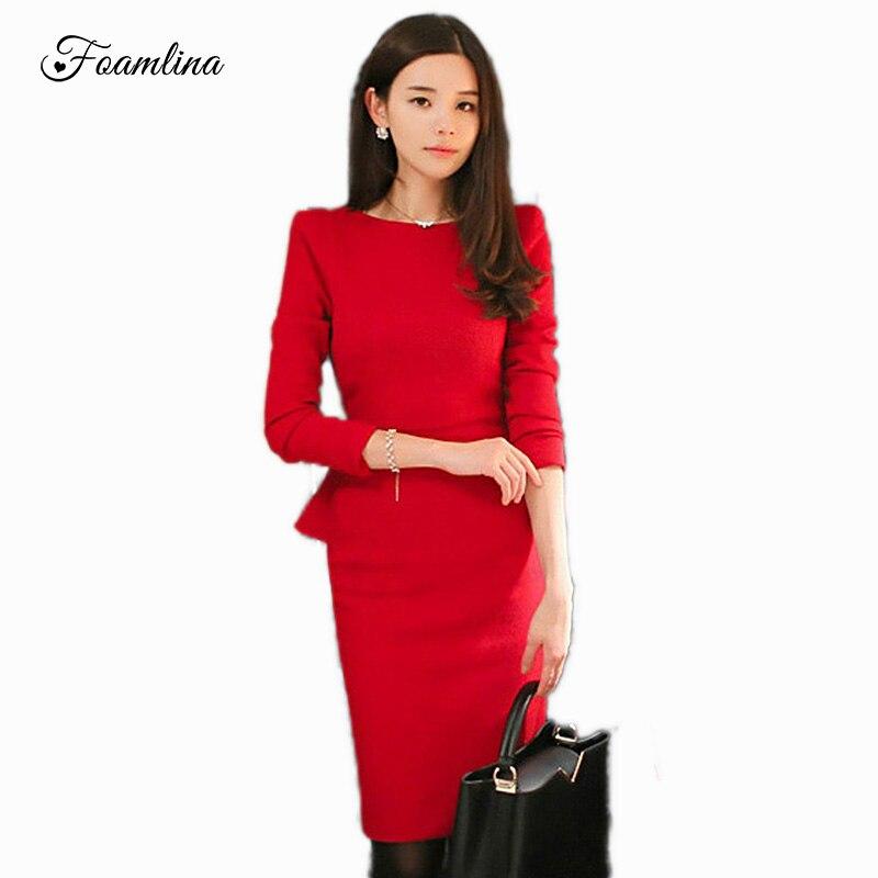 Foamlina Kadın Zarif Sonbahar Kış Uzun Kollu Gömme Vintage Bodycon Elbise O-Boyun Peplum Casual Ofis Bayanlar Kalem Elbiseler