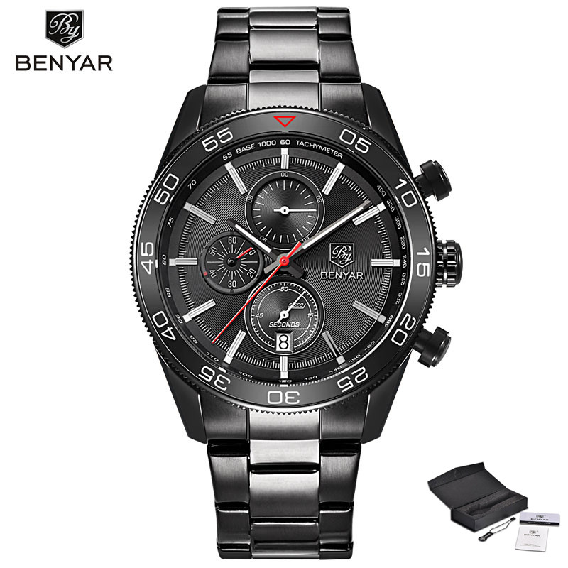 High Quality Top Brand Cool Black BENYAR Men Watch Chronograph Dial Bracelet Clasp Military Sport Reloj Gift Relogios Masculino