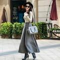 Novas mulheres outono inverno engrosse lã sólida saia plus size elegantes saias slim saia longa faldas mujer big balanço Linha S2752