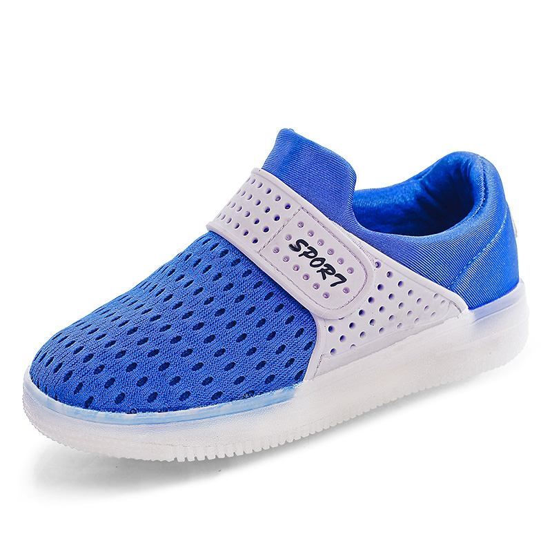 Mesh Hook&Loop Led Light Up Sneakers Little Kids/Big Kids Flashing Board Rechargeable Girls Boys Shoes 25-37 Casual Shoes adidas samoa kids casual sneakers
