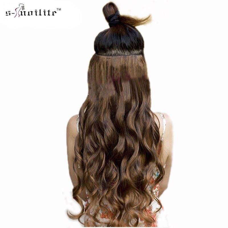 SNOILITE 24 inch 61 см вьющиеся 3/4 Полный начальник Ролик в волос чёрный; коричневый блондинка натуральным химическое Одна деталь для человека