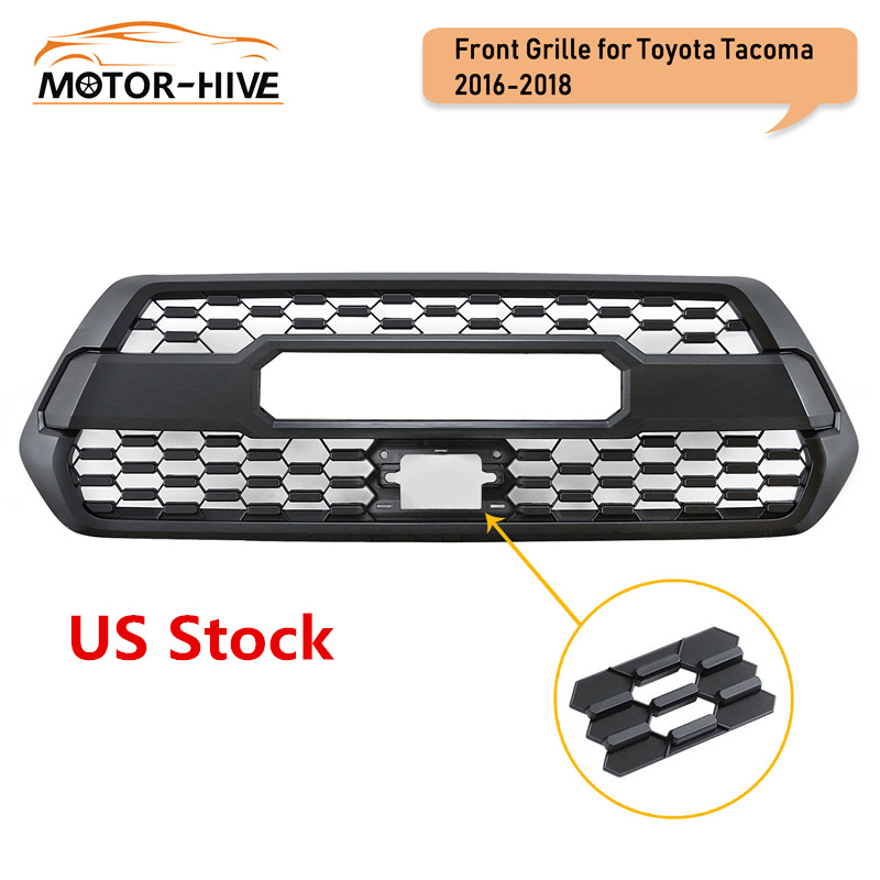 Front Bumper Hood Black Grille for Toyota Tacoma TRD PRO 2016 2017 2018 2019 Mesh Racing