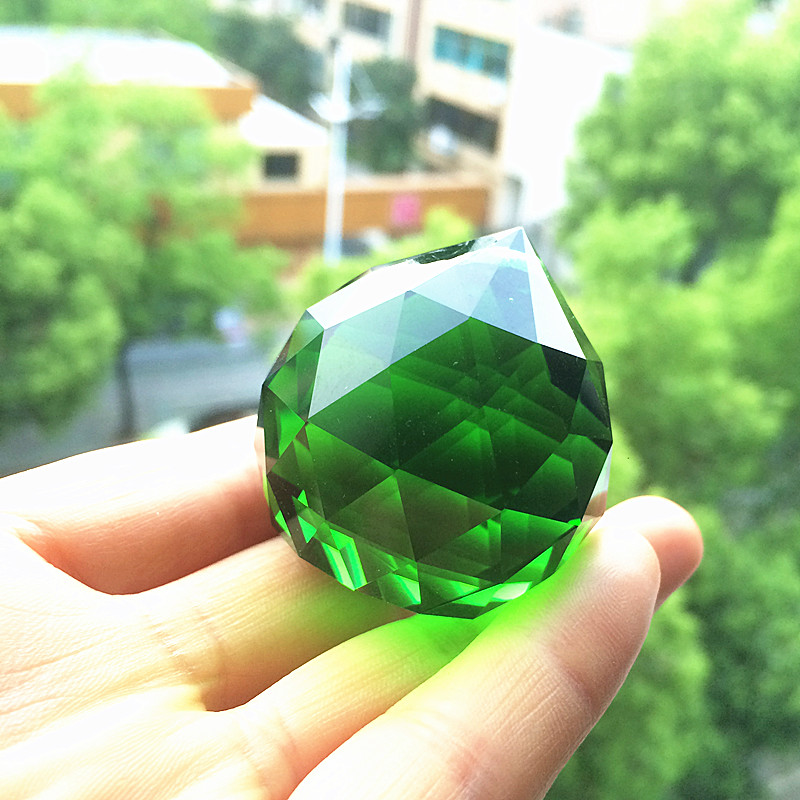 Free shipping 40pcs/lot , 40mm Chandelier balls (+40pcs Rings) , Green color crystal Glass ball, Crystal Hanging Suncatcher