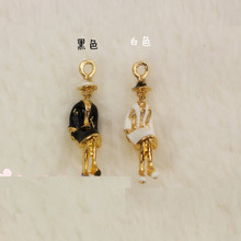 10pcs/lot Enamel Charm Alloy gold color jewelry hooded lady pendants for bracelet necklace Hair DIY jewelry Accessories