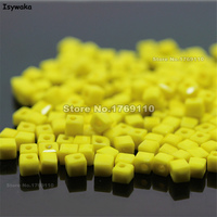 Isywaka 1980pcs Cube 2mm Non Hyaline Yellow Color Square Austria Crystal Bead Glass Beads Loose Spacer