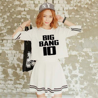 Kpop Bigbang zehn Jahrestag Konzert MADE Quan Zhilong Die gleichen absatz T-shirt Kurze kleider Zwei sätze sommer kleid 2018 frauen