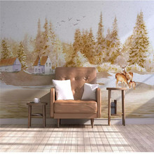 Custom 3d wallpaper small fresh Nordic style abstract woods elk hillside sofa living room wall quality material waterproof