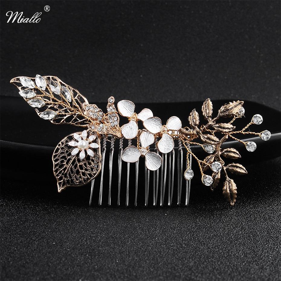 us $4.96 20% off|miallo classic black gold handmade hair combs clover wedding hair accessories bridal head jewelry hairpins women headpieces-in hair