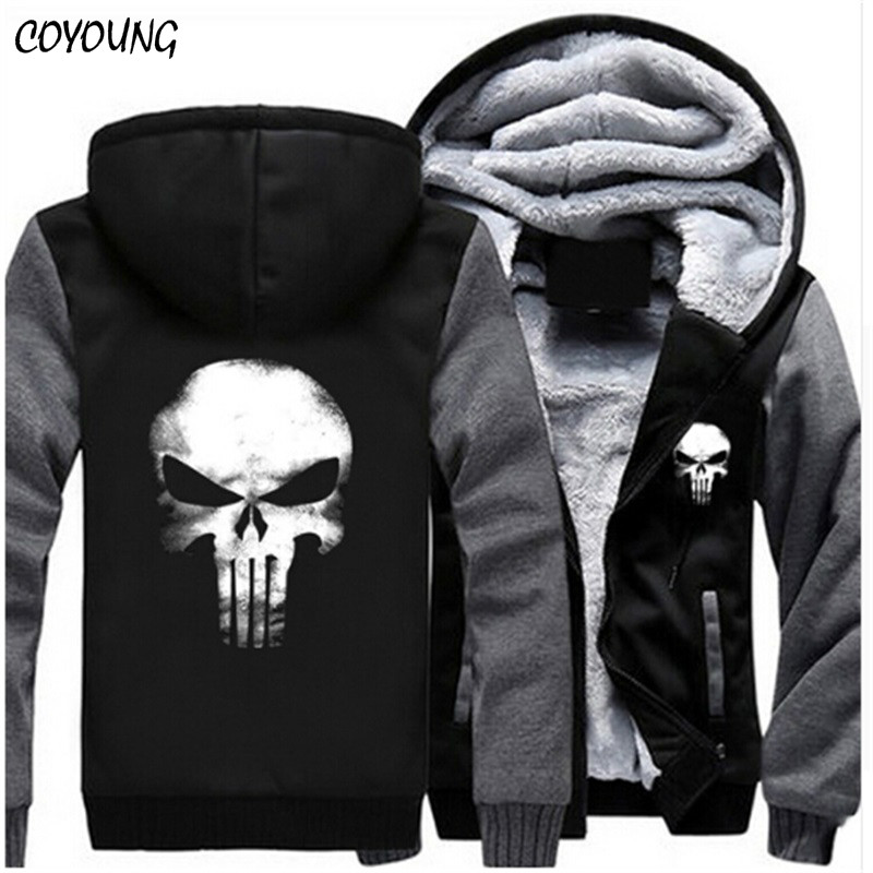 COYOUNG brändi US Plus SIZE 5XL Meestele Hoodies Punisher Skull Casual Hoody Thicken Fleece Mantel Jope Unisex Sweatershirts