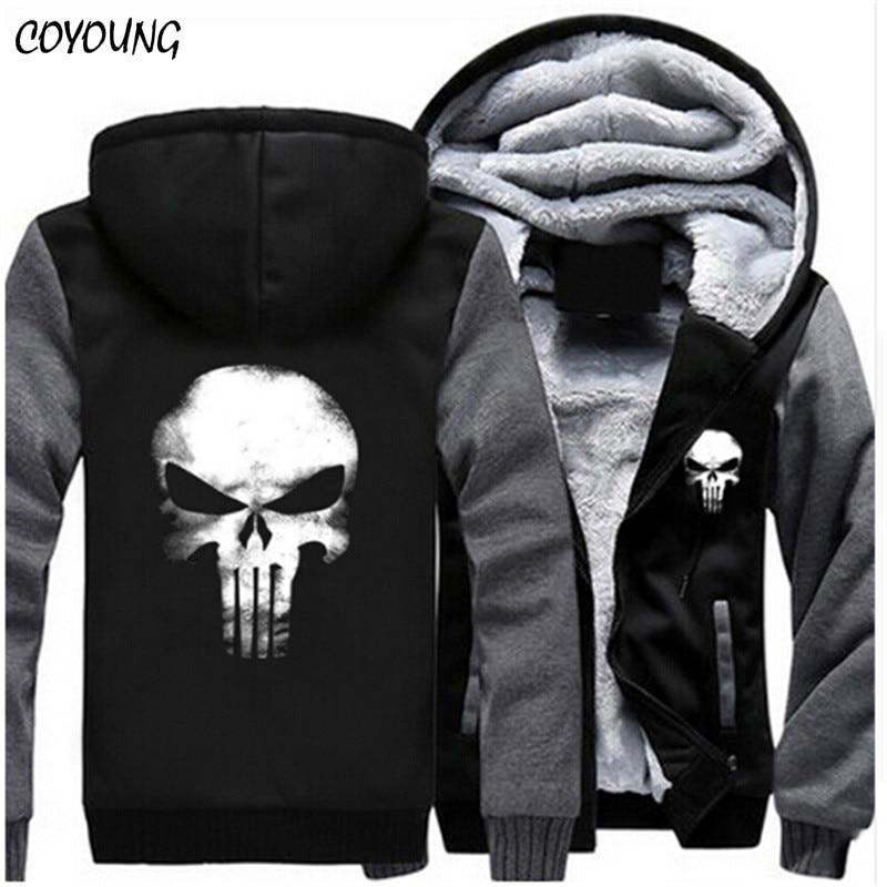COYOUNG Brand US Plus SIZE 5XL Men Hoodies Punisher Skull Casual Hoody Thicken Fleece Coat Jacket Unisex Sweatershirts