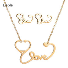 Eleple Stainless Steel Love Stethoscope Necklace Earring Set Women Celebration Party Fashion Jewelry Sets Dropshipping S-S018 цена и фото
