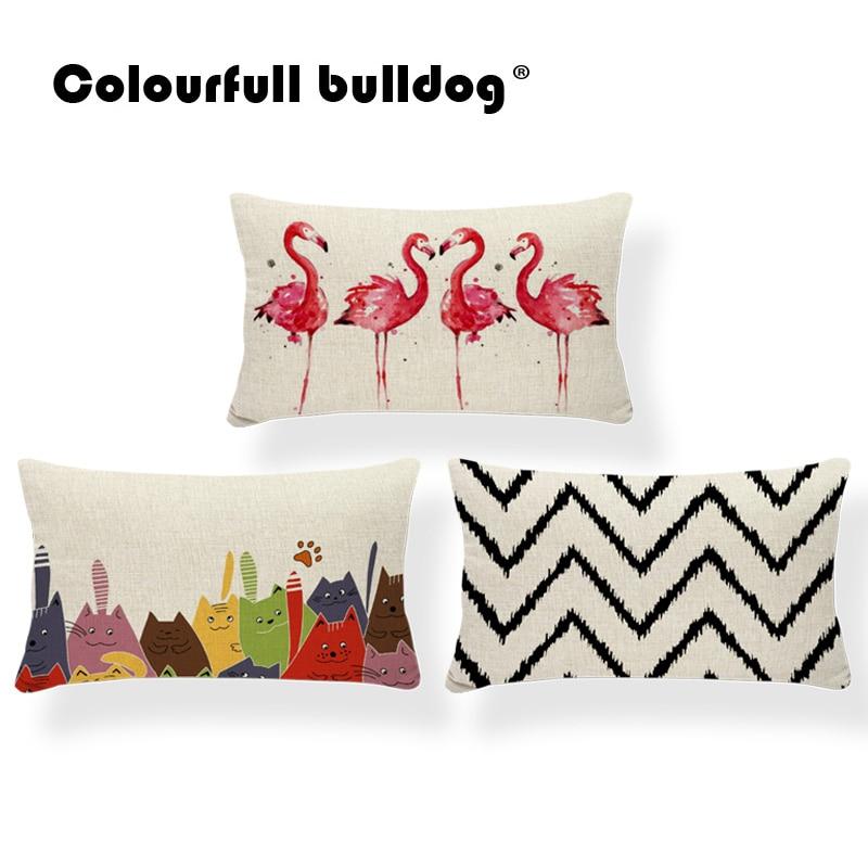 Animal Cushion Pillow Plant Geometry Deer Flamingo Flower Zigzag Pillows Home Decorative Pillowslip Covers 30X50 Linen Modern