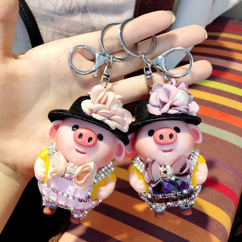 Chinese Style Anime Journey To The West Monkey King Pigs Keychain Car Rhinestone Crystal Bow Tie Key Chains Holder Keyring