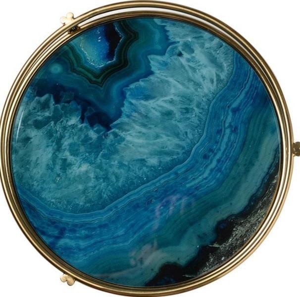Ray nordic luz luxo banhado a ouro placa de exibição armazenamento vidro amostra placa sala chá conjunto chassis ágata azul - 4