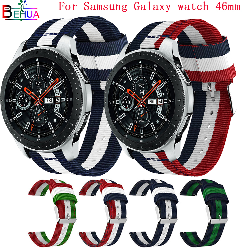 Nylon Sport Strap Band 22MM Watch Band For Samsung Galaxy Watch 46MM Smart Watch Strap Bracelet Replacement Wristband Adjustable