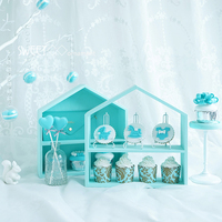 SWEETGO Wood House Ornament For Cupcake Push Cake Home Decoration Nordic Fores Weding Props Tools