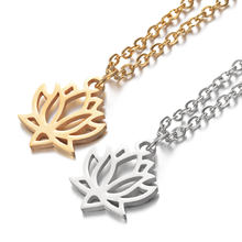 2019 316L Stainless Steel Hollow Out Louts Flower Charm Pendant Necklace Gold Silver Tone Long Chain Necklace Female Gift Gifts(China)