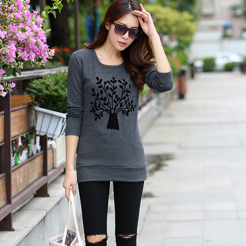 335beb7d1ce Tree Pattern Crewneck Tee Shirt Ladies Full Sleeve Long T Shirt Women Tops  Female Shirts Camisetas y tops Plus size Ropa Mujer-in T-Shirts from Women s  ...