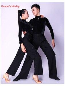 Image 2 - قاعة الرقص مثير كم طويل ملابس الرقص اللاتينية الحديثة للنساء/رجل أزياء جديدة زي الأداء ترتدي