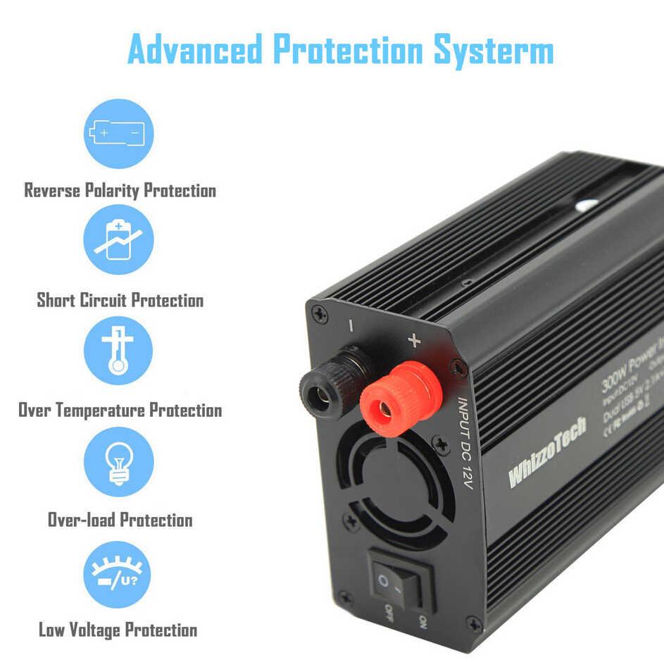 محول طاقة السيارة 300 واط المزدوج تيار مستمر 12 فولت إلى التيار المتناوب 110 فولت الولايات المتحدة القياسية منافذ مع المزدوج USB سيارة عاكس الطاقة السيارات محول محول