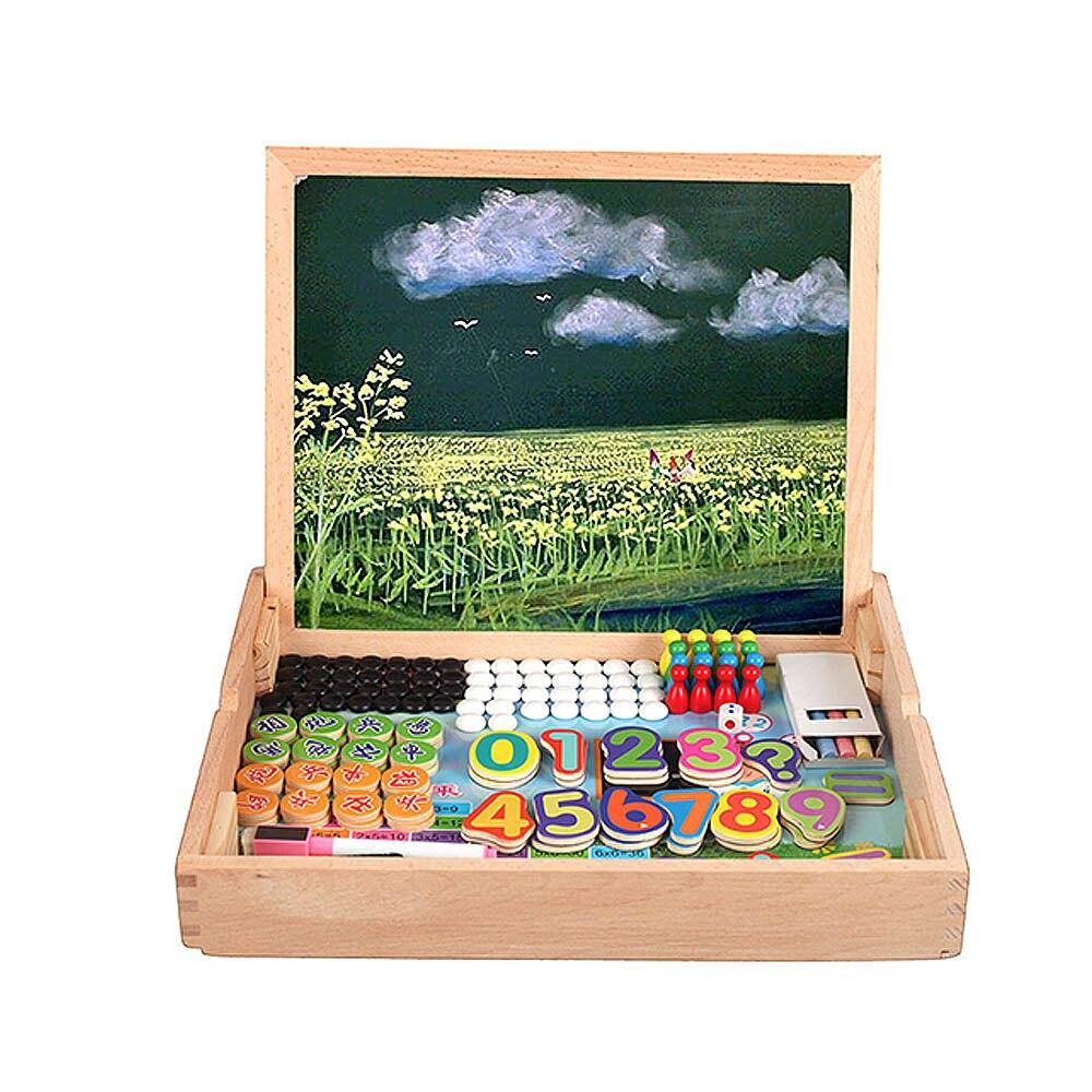 Creative magnétique dessin tableau d'écriture Sketchpad cadeau enfants Intelligence éducation jouet Puzzle Double chevalet enfant en bois jouet - 3