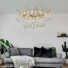 Золотой Кристалл в американском стиле ретро-люстры освещение класса люкс для гостиной спальни зала отеля ресторана столовой моды