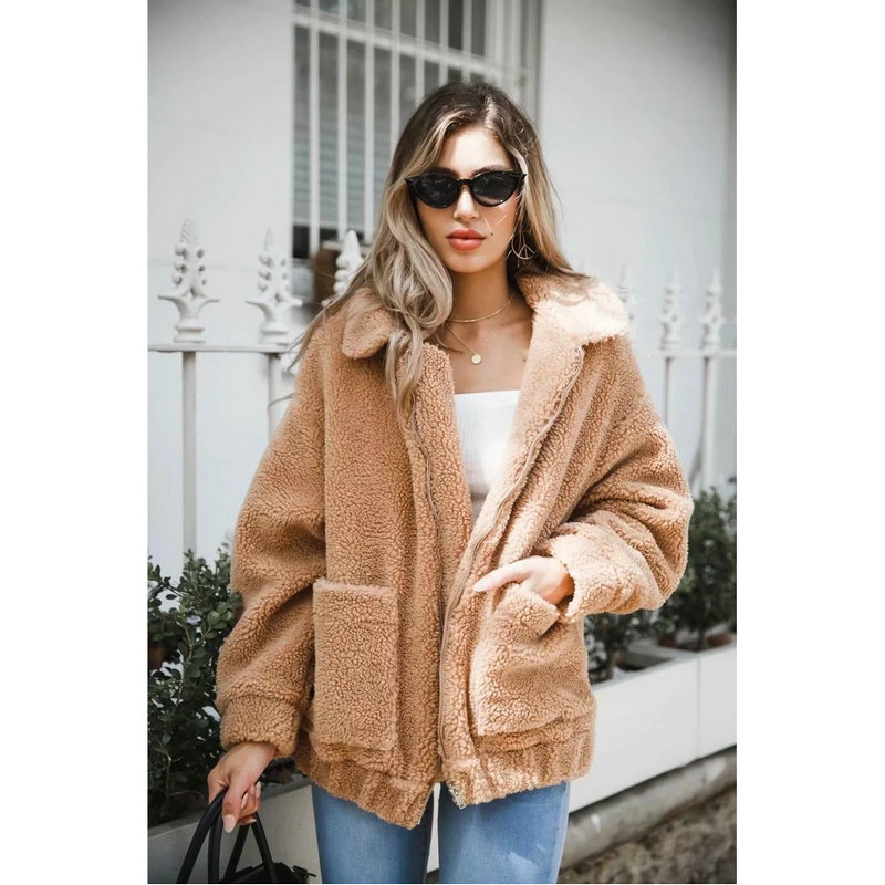 Automne hiver nouvelles femmes couleur unie Simple revers Zipper agneau fourrure veste femme lâche décontracté mode confortable chaud manteau