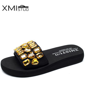 Image 4 - XMISTUO Fashion Women Handmade Sandals Solid Diamond Female Summer Beach Water Resistant 3CM Low Heeled Slippers 9 Color 7167