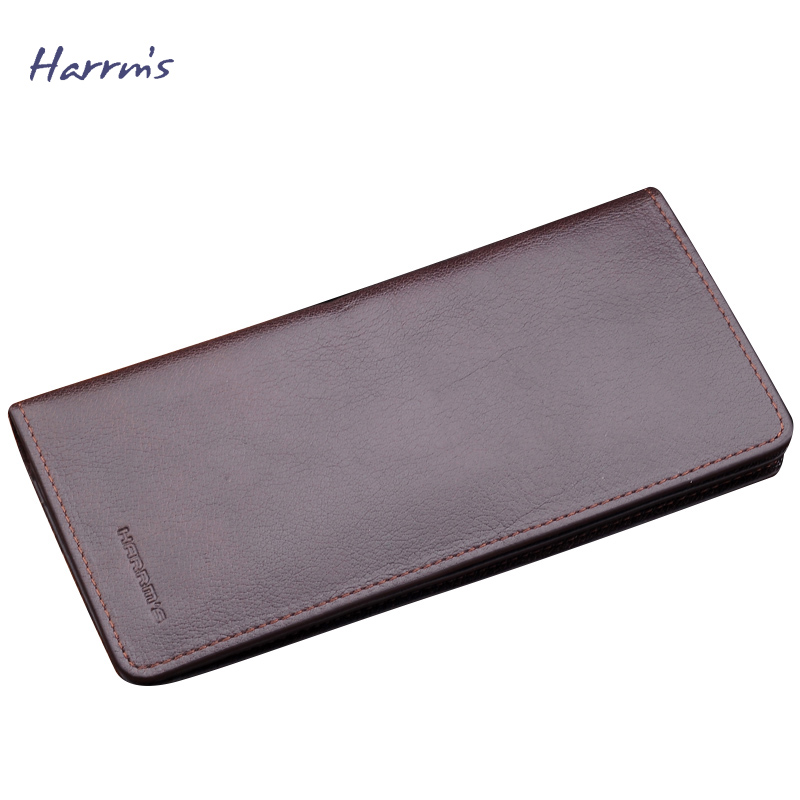 ФОТО Harrms Men Wallets Black Genuine Leather Mens Wallet Fashion Long Standard Wallet Designer Wallets Famous Brand