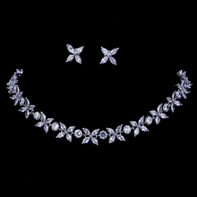 Emmaya Zircons Stunning Crystal Necklace and Earrings Luxury Bridal Party Jewelry Set For Wedding Evening Gift