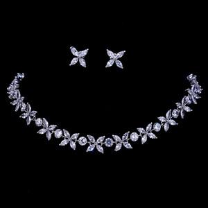Image 1 - Emmaya цирконы потрясающие кристаллы ожерелье и серьги роскошный свадебный набор ювелирных изделий для вечеринки свадебный вечерний подарок