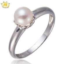 Pure 925 Sterling Silver Freshwater Pearl Jewellery Ring Easy Model For Girls Woman Woman
