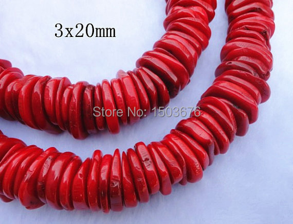 15.5 inci / untai Natural Red Coral Coral Disc Heishi Beads Mantra, Coral Beads Jewelry Kalung Persediaan