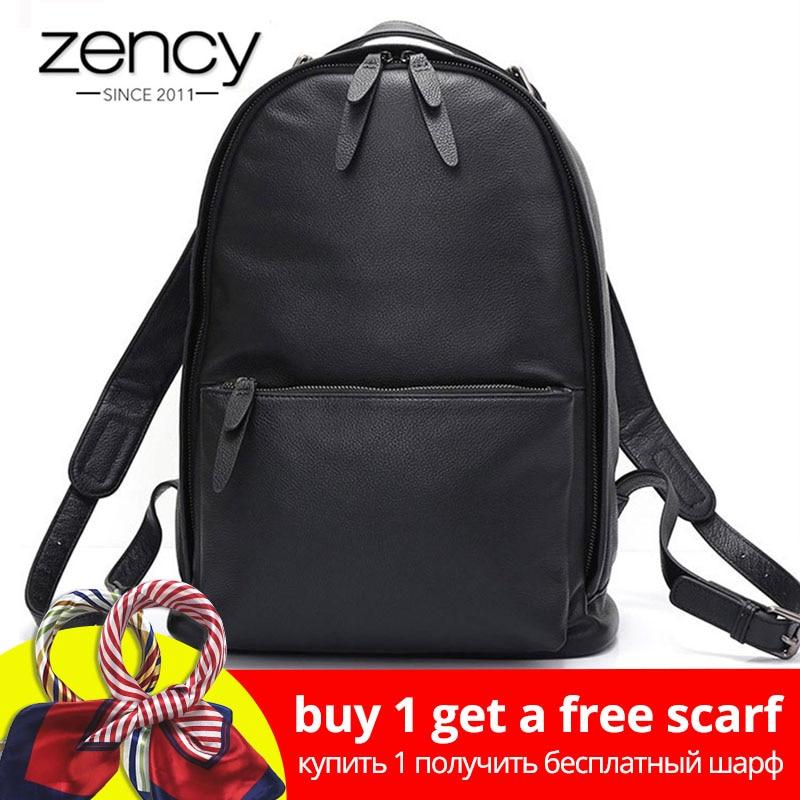 Zency Black Women Backpack 100% Genuine Leather Male Female Big Travel Bag Schoolbag Large Capacity Laptop Knapsack Unisex