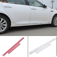 Sport Red and Mirror Silver Body Side Door Molding Trim Cover Accessories Garnish Protector for Kia Optima K5 2016 2017 2018