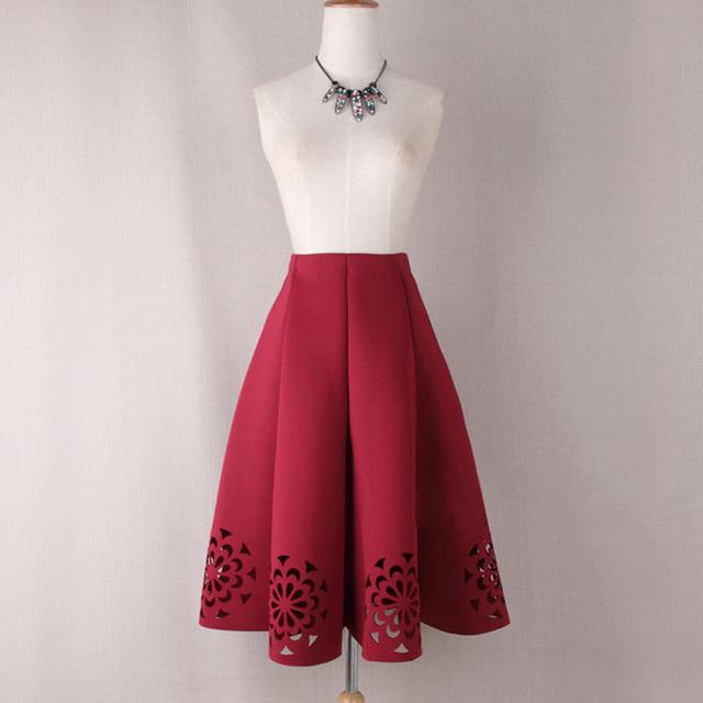 Moda Otoño Invierno de Las Mujeres Falda de Cintura Alta Plisada Hollow Out Midi Faldas Color Sólido Retro Saia Feminina