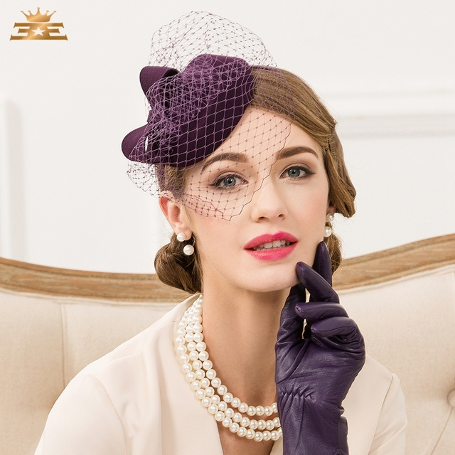 Nuevo sombrero Noble para mujer Vintage vino rojo 100% lana sombrero inglés  fiesta moda velo 1b4c513b00a