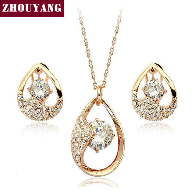 Top Quality ZYS050 Crystal Tears Rose Gold Color Jewelry Nicklace Earring Set Rhinestone Made with Austrian Crystal Health